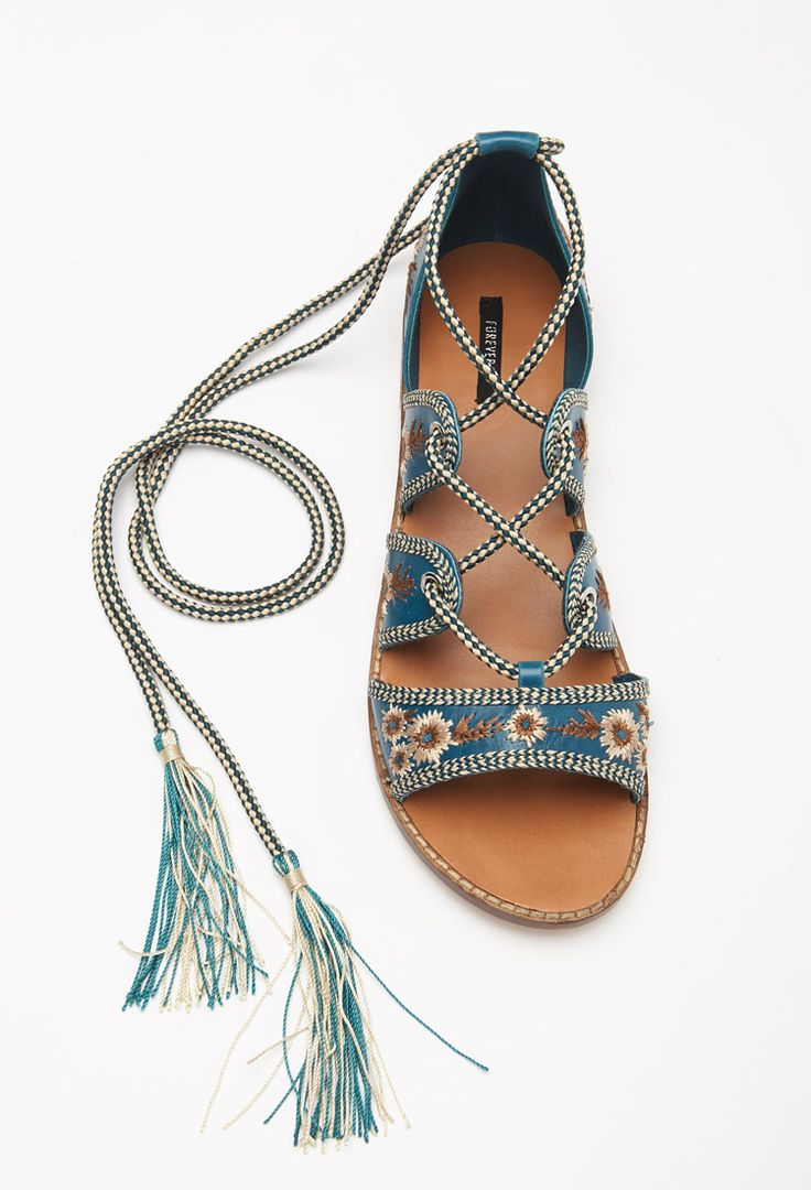 Embroidered Lace-Up Sandals | Forever 21 - 2000130254
