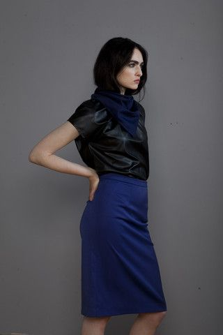 LC Collection, draped shirt and a-line skirt.