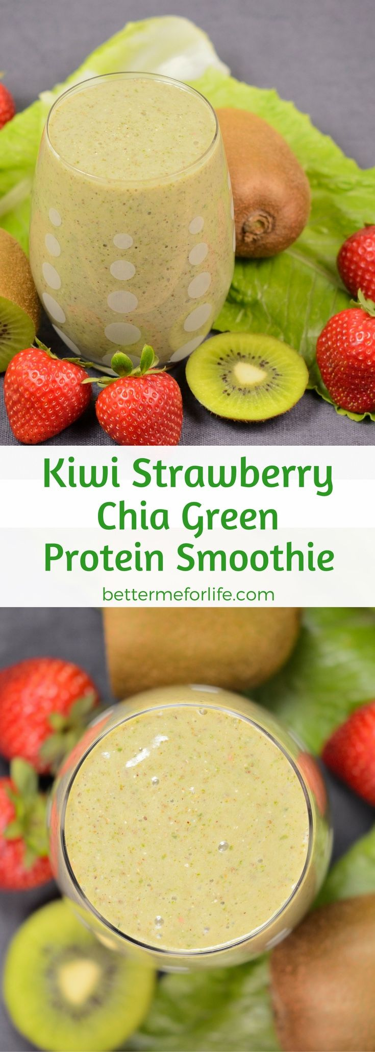 This kiwi strawberry chia green protein smoothie is a light and refreshing weight loss smoothie. It's packed with nutrients and will keep you full for a long time. Recipe at BetterMeforLife.com   green protein smoothie recipes   healthy green protein smoo
