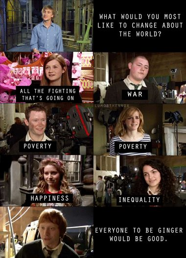 Rupert Grint, kinda my hero... With his first payment from the Harry movies, he bought an ice cream truck and hes served ice cream while people were filming. True story. I know too much of this useless information....