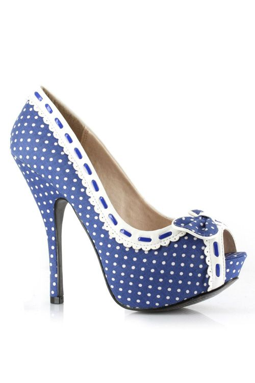vintage peep toe pumps | ELLIE Blue & White Polka Dot Gwendolyn Peep Toe Heels - Unique Vintage ...