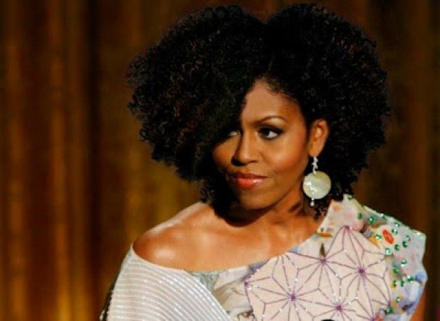 Photoshopped image of Michelle Obama rockn' natural hair afro style.