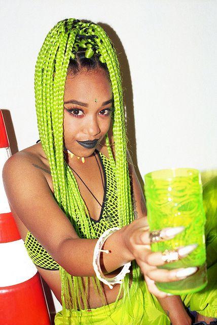 green braids, green box braids, colorful braids, afro hair, afro hairstyle, black lipstick makeup