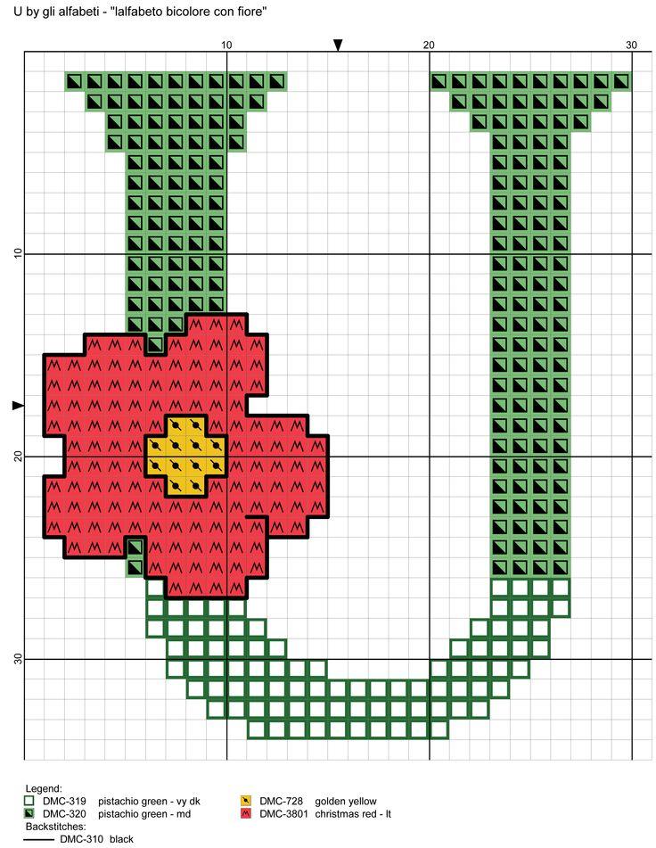 alfabeto bicolore con fiore: U