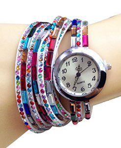 ABCTM-Faux-diamond-watches-Bracelet-Pendant-Wrist-Quartz-Round-Dial-Watch-White-0