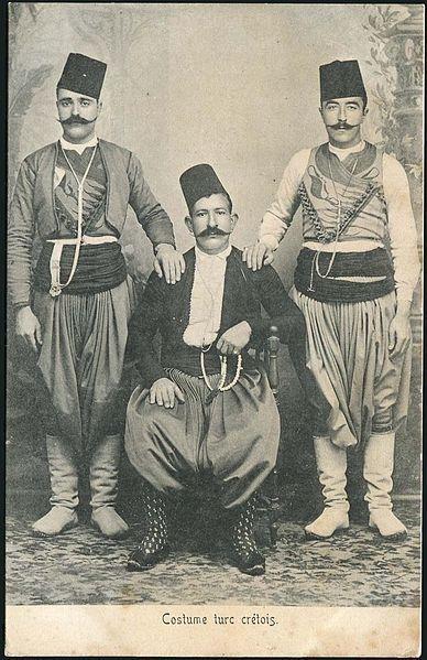 Muslim men in Turkish costumes.  Crete, late 19th century.