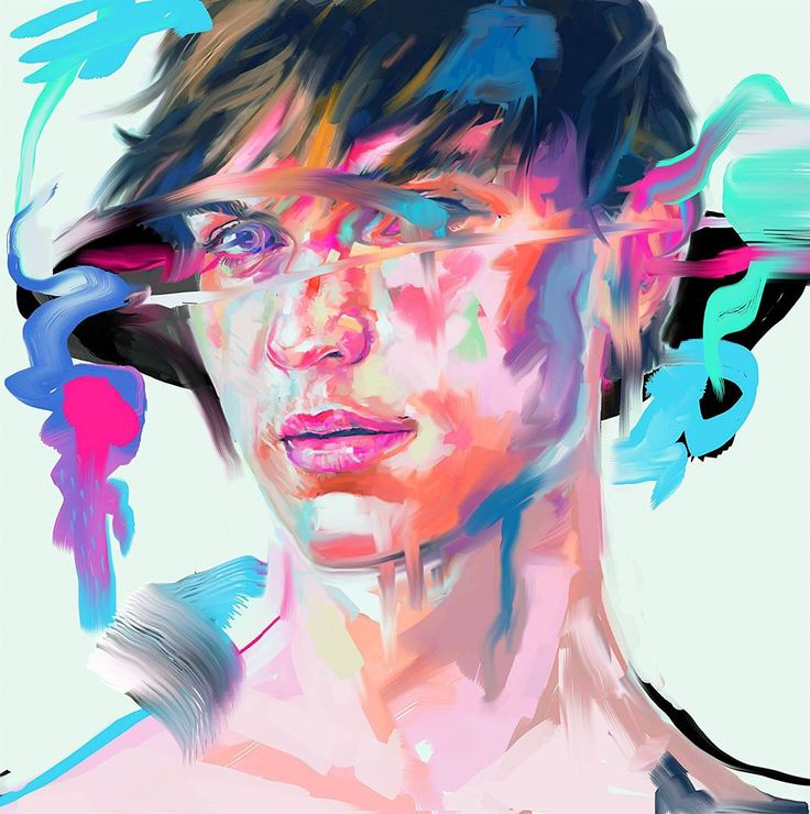 digital painting art work by @2l.cat instagram -2l.cat #portrait #painting #digitalpainting #artwork #psychedelic #illust #art #kunst #neon #glitch