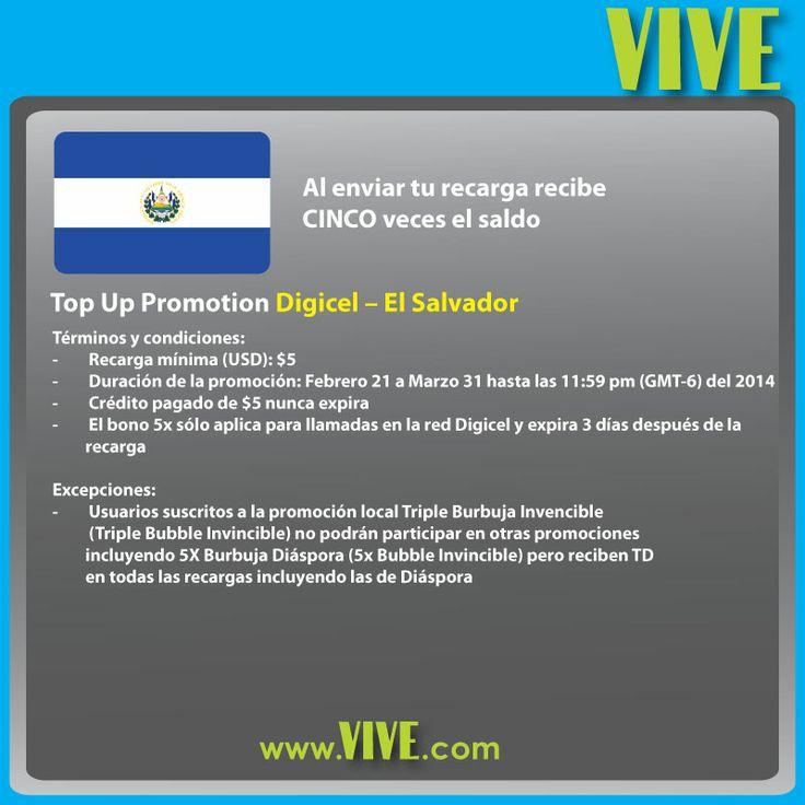 Hasta el 31 de marzo, recibes CINCO veces el monto de tu #recarga #móvil a #Digicel #ElSalvador  Visita https://www.vive.com/promotions.aspx para tener más detalles y aprovechar más promociones!