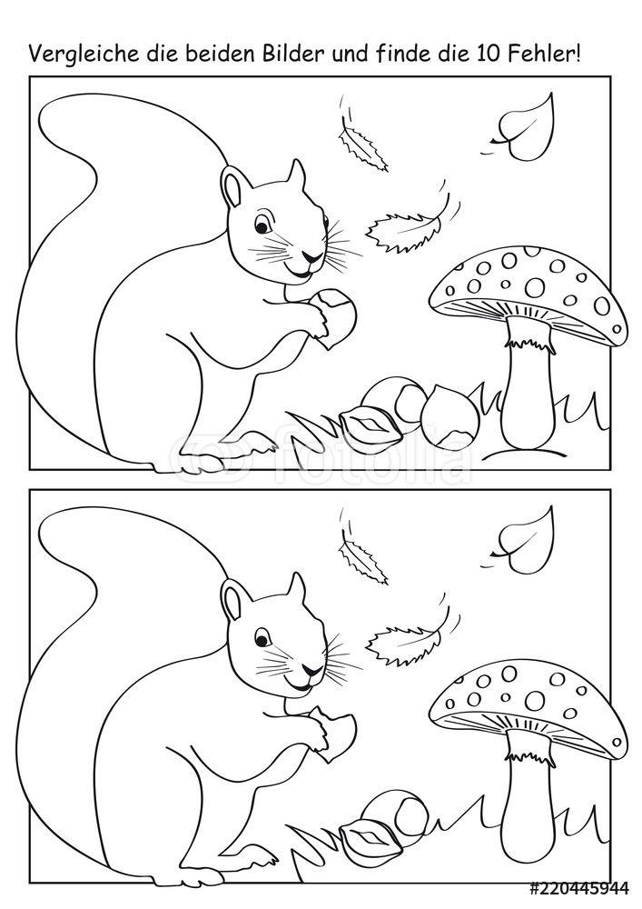 Plakaty Herbstliches Fehlerbild Mit Eichhornchen Fliegenpilzen Blattern Und Nussen 220445944 Eichhornchen Herbst Herbst Im Kindergarten
