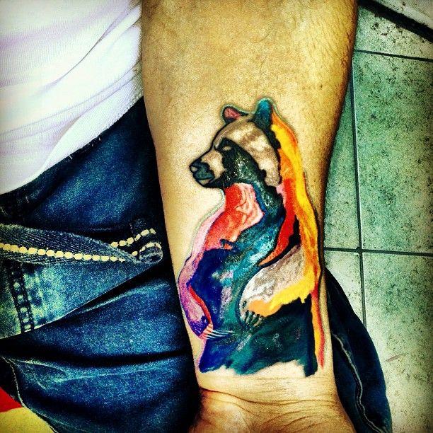 Water Color Bear Tattoo On Wrist | Bear tattoos | Tattoos ... Watercolor Bear Tattoo
