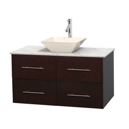 Wyndham Collection Centra 42 inch Single Bathroom Vanity in Espresso, White Carrera Marble Countertop, Pyra Bone Porcelain Sink, and No Mirror