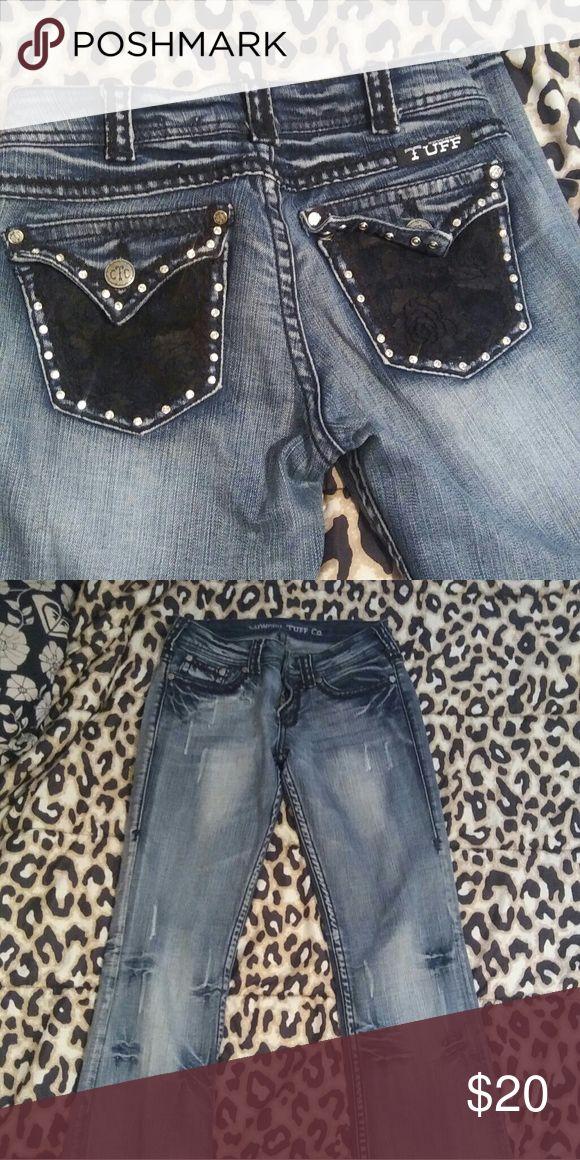 Cowgirl Tuff Jeans These jeans are so cute and I'm so disappointed they didn't fit ); Black lace and bling on back pockets! JUST ordered so selling what I bought them for.. Size 25  *******CHECKS ONLY ATM Cowgirl Tuff Co. Pants