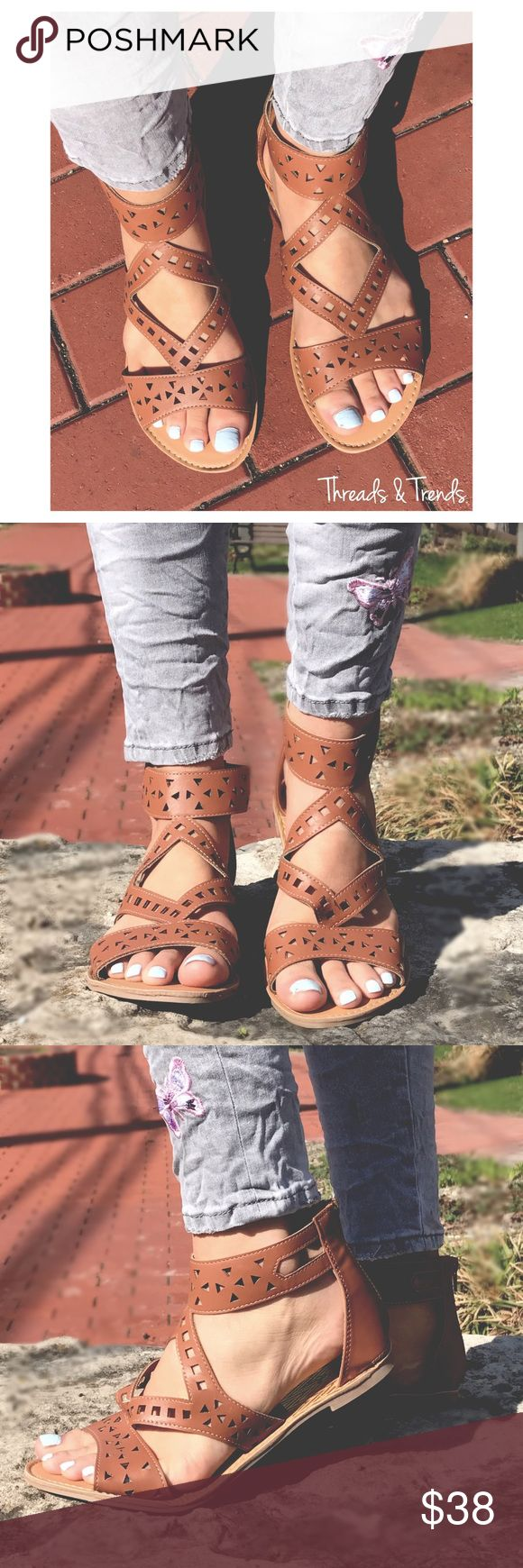 Summer Sandal Booties Warm weather Sandal meets booties. Get both looks in these classic brown color Sandal Booties with a zip up closures on back ankles. Made of a Faux Leather. A great color for matching with summer wardrobes. Threads & Trends Shoes Sandals