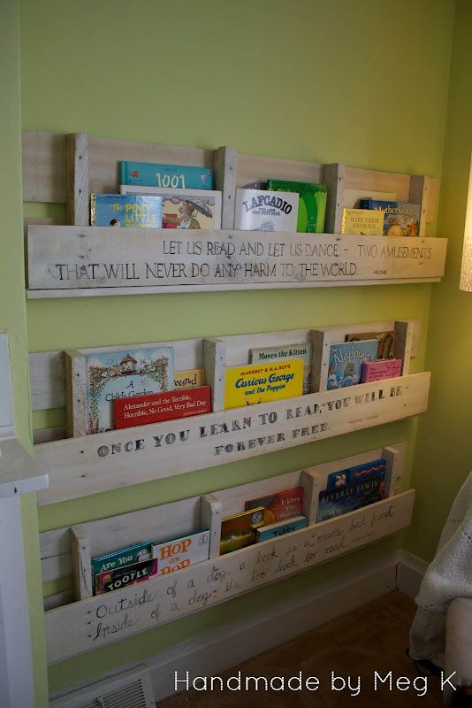 Handmade by Meg K: Ben's Wooden Crate Bookshelves