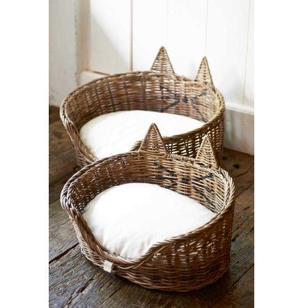 Rustic Rattan Cat Basket L~   Rivièra Maison