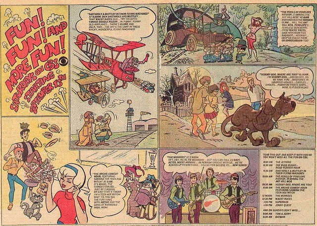 1969 CBS Saturday Morning Cartoons, Advertisement in Comic Books, Featuring: Dastardly and Muttley in their Flying Machines, The Perils of Penelope Pitstop, Scooby Doo, The Archie Comedy Hour, and The Monkees.