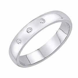 Obrączka Ślubna z diamentami Staviori Obrączka.  3 Diamenty, szlif brylantowy, masa 0,04 ct., barwa H, czystość SI2.  Białe Złoto 0,585. Szerokość 4 mm. Grubość 1 mm.  Dostępne inne kolory złota.