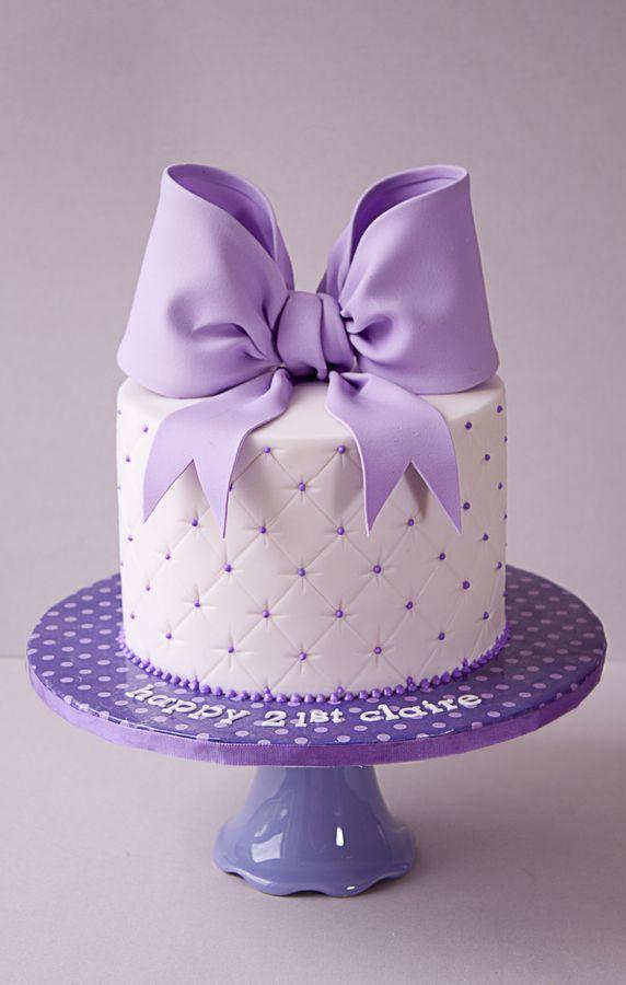 Lilac Bow 21st Birthday Cake Amazing Cakes Pinterest