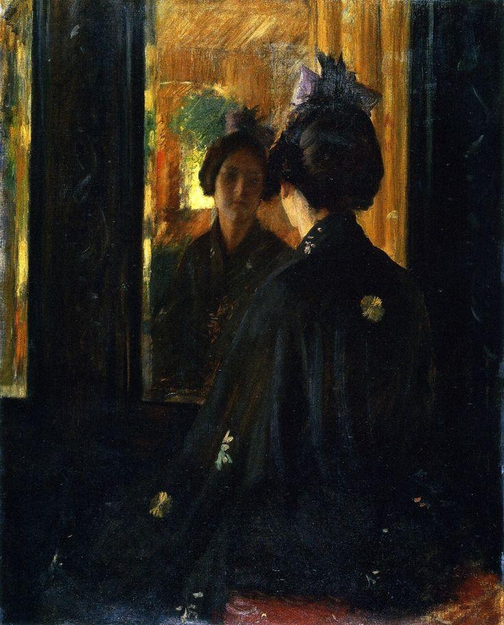 * William Merritt Chase (1849-1916), The Mirror, 1900, Cincinnati Art Museum, oil on canvas, cm 91.4x73.7 #mirror