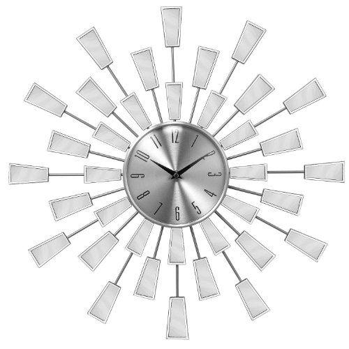 Decorative Diameter Wall Clock with Square Edge Sunburst Mirror