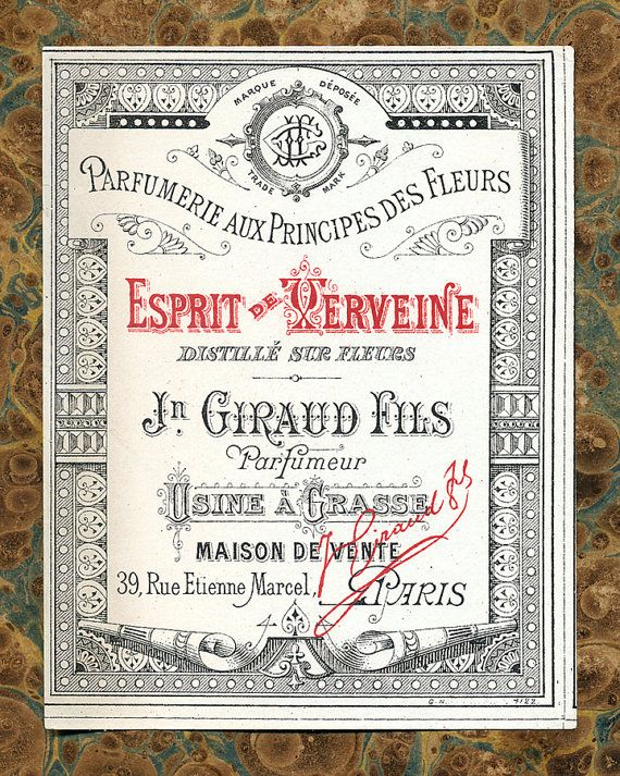 Antique Vintage French Apothecary Perfume Label