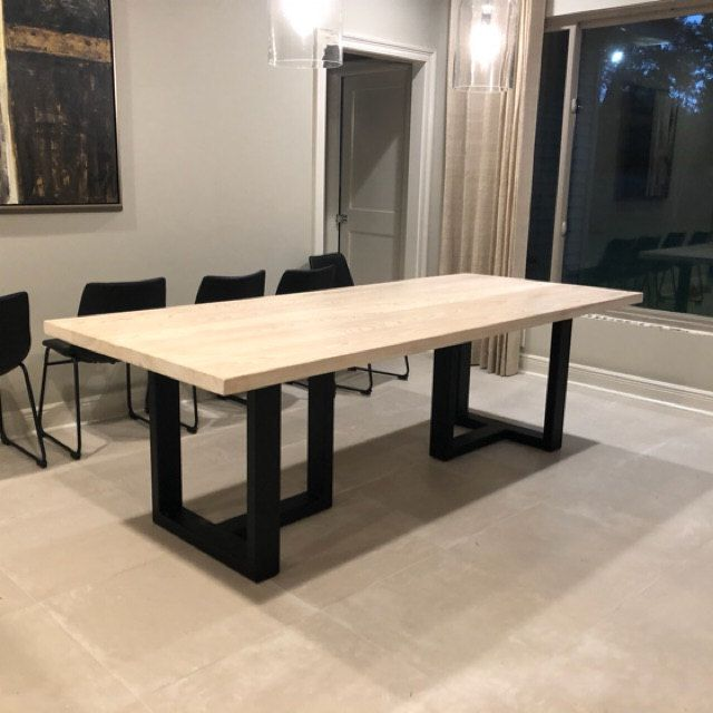 Recycled Tasmanian Oak Industrial Dining Table With Black Metal