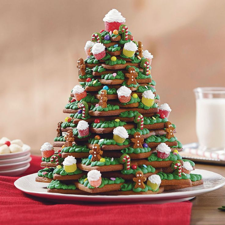 Time to get creative and make this magnificent 3-D Christmas tree tier from gingerbread cookies, gum drops and candy!