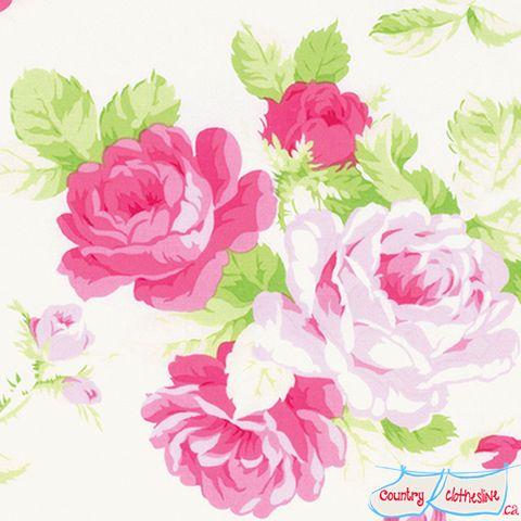 Sadie's Dance Card Big Rose Pink Quilt Fabric by Tanya Whelan for Freespirit