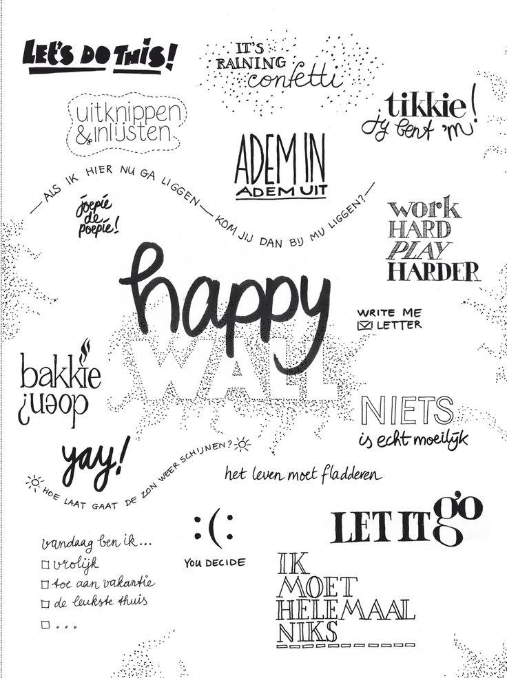 HAPPY WALL - happy page in vtwonen 4 2016. Print uit, stijl op jouw manier, maak een foto en deel met #vtwonenbijmijthuis.