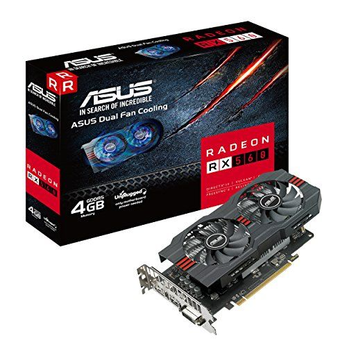 ASUS Radeon RX 560 4GB GDDR5 DP HDMI DVI AMD Graphics Card (RX560-4G)  Utilizes AMD Polaris architecture for efficient gaming and graphics performance  Dual-fan design for twice the airflow and 3x quieter performance  IP5X-certified dust resistant patented wing-blade fans improves reliability of system cooling performance  Intuitive GPU Tweak II Interface to easily monitor and control your GPU's performance and cooling  Auto-extreme manufacturing technology delivers premium quality and...
