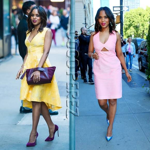 Kerry Washington is a beaming beauty in two bright frocks!