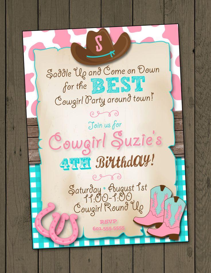Cowgirl Invitation Cowgirl Birthday Party Invitation Cowgirl Party Invitation by DaxyLuu on Etsy