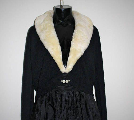 Vintage 50's MONROSE Cardigan  Black Acrylic Knit with
