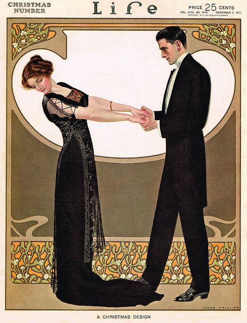 "Coles Phillips - Life Magazine cover (December 7, 1911) "" A Christmas Design"""