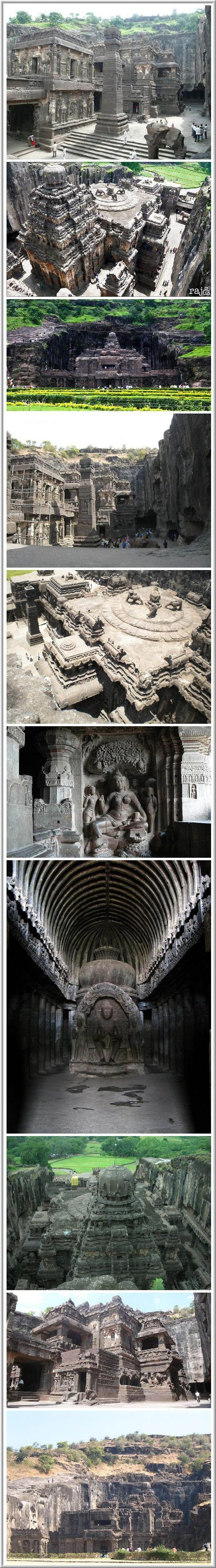 Ellora Caves: Cave temples of India  In the Indian state of Maharashtra is the village of Ellora with 34 amazing caves, carved into the mountain Charanandri vertical surface. Ellora – the official World Heritage Site by UNESCO. The caves consist of 12 Buddhist, 17 Hindu and 5 Jain temples and monasteries built during the period from VI to X vek.Eti cave – a sign of religious harmony that prevailed in India during this period. Ellora Caves.