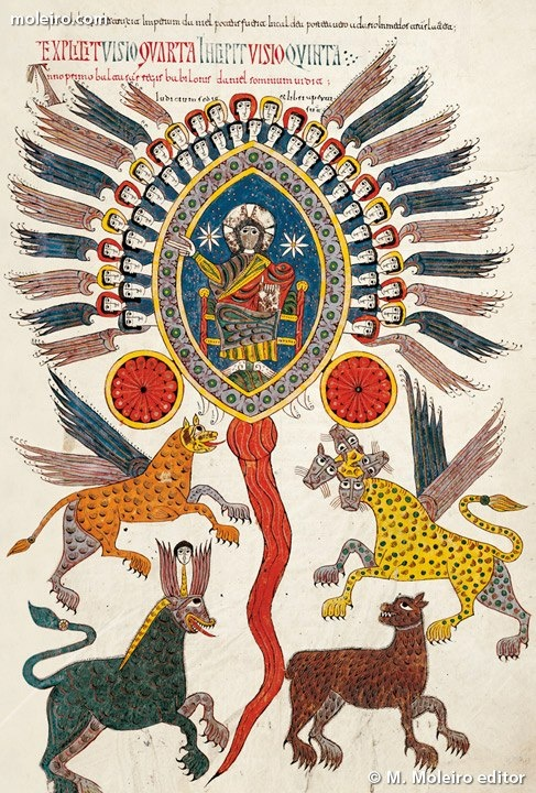 Incunabula book - Daniel's vision of the four beast. (Daniel 7)