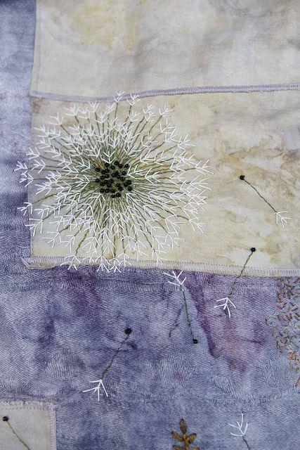 "Julie Shackson ""Seed Head""  Julie has a light evocative hand with thread, always simple and effective: Dandelions Dazed, Textiles Art, Seeds Head, July Shackson, Dandelions Head, Art Textiles, Photo, Fiber Art, Shackson Artists"