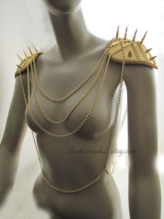 Golden Spike Epaulettes Body Harness