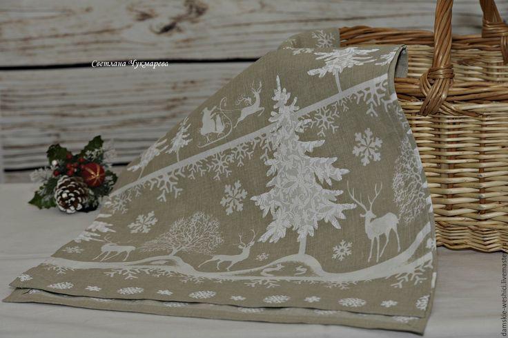 """Купить Новогодняя льняная дорожка на стол """"Новогодняя сказка-2"""" - серый, дорожка на стол"""
