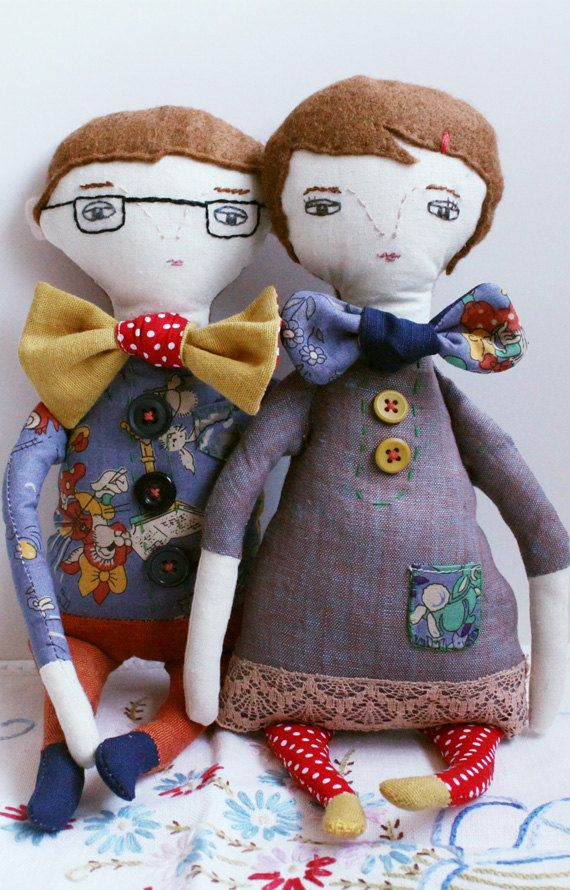 """She & Him Bow Tie Couple"". Handmade romance"