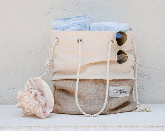 Natural Creme Canvas Tote Large Beach Bag by theAtlanticOcean, $59.00