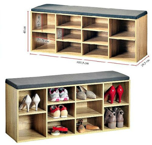 Details About Wooden Shoe Storage Cabinet Seat Bench With