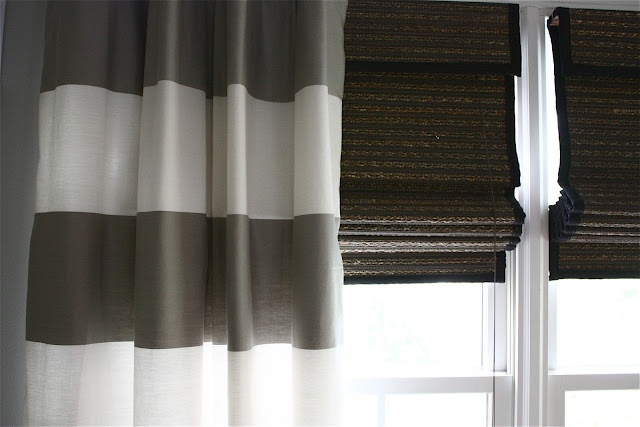 bamboo shades and gray white stripe curtains gray walls black