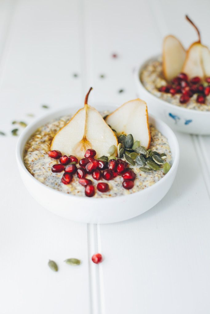 ... oatmeal with maple roasted pears and pomegranate ...