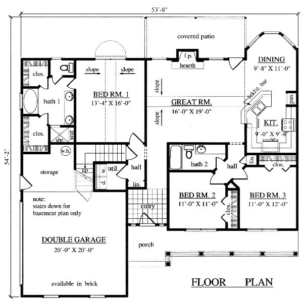 house plan 82272 | total living area: 1572 sq ft, 3 bedrooms & 2