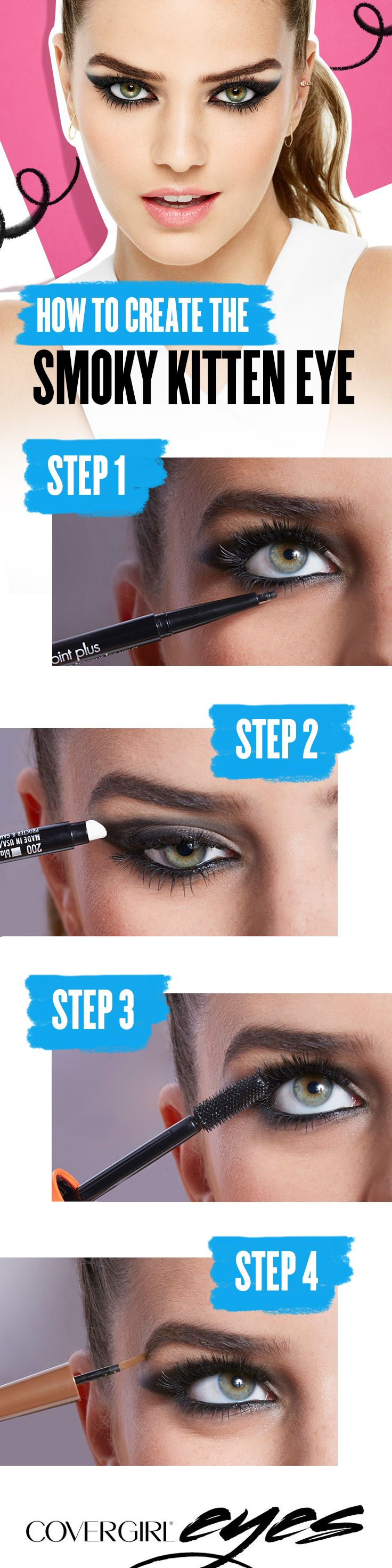 Try a cool, smokier alternative to the traditional cat eye — Create the perfect kitten eye using these 4 easy steps. Step 1: Start with COVERGIRL Perfect Point Plus Mascara. Step 2: Smudge with sponge tip to smoke it out. Step 3: Load up your lashes and create instant volume using COVERGIRL LashBlast Mascara. Step 4: Then, add a pow to your brow using COVERGIRL Pow-Der Brow. COVERGIRL is the simple way to Draw Attention to your eyes.