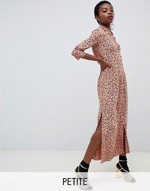 99bdce64b2ef0b River Island Petite printed maxi dress in pale pink