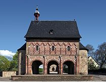 Lorsch Abbey gatehouse, c. 800, an example of the architectural style of the short-lived Carolingian Renaissance, a first, albeit isolated classical movement in architecture