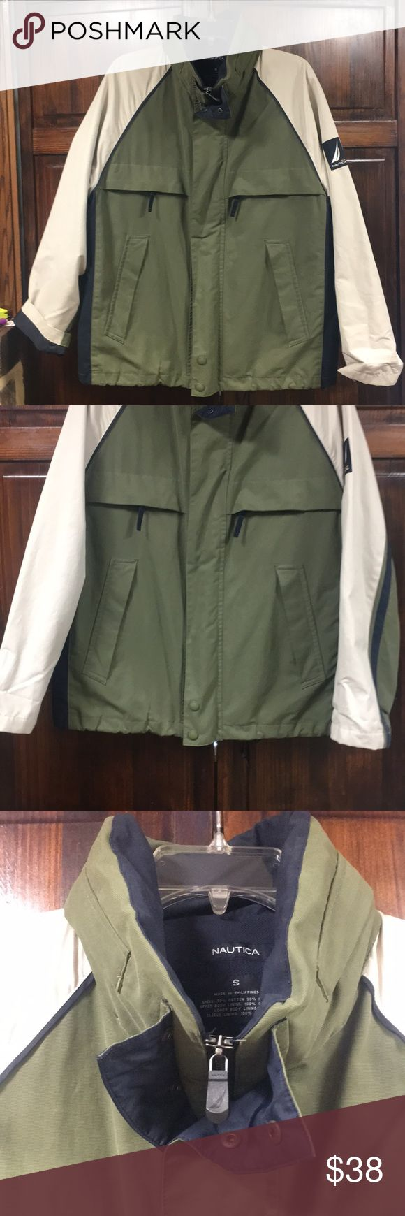 Nautica men's sz small green, blue & cream jacket Nautica men's sz small green, blue & cream zip up jacket.  Preowned but excellent condition.  One inside cell phone pocket, one inside zipper closure pocket.  4 zipper pockets on outside front of jacket.  Navy blue interior lining. Nautica Jackets & Coats Performance Jackets