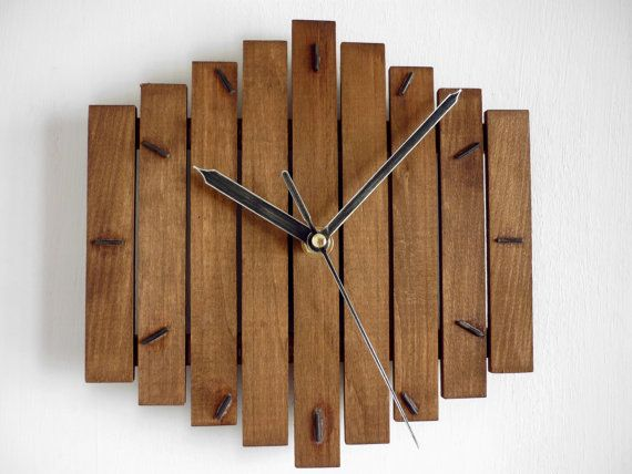 "Wood Wall Clock ""Romb I"", Wooden Clock, Geometric Clock, Steampunk Vintage…"